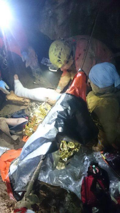 Rescate del espeleólogo atrapado. Foto: SOS Deiak.