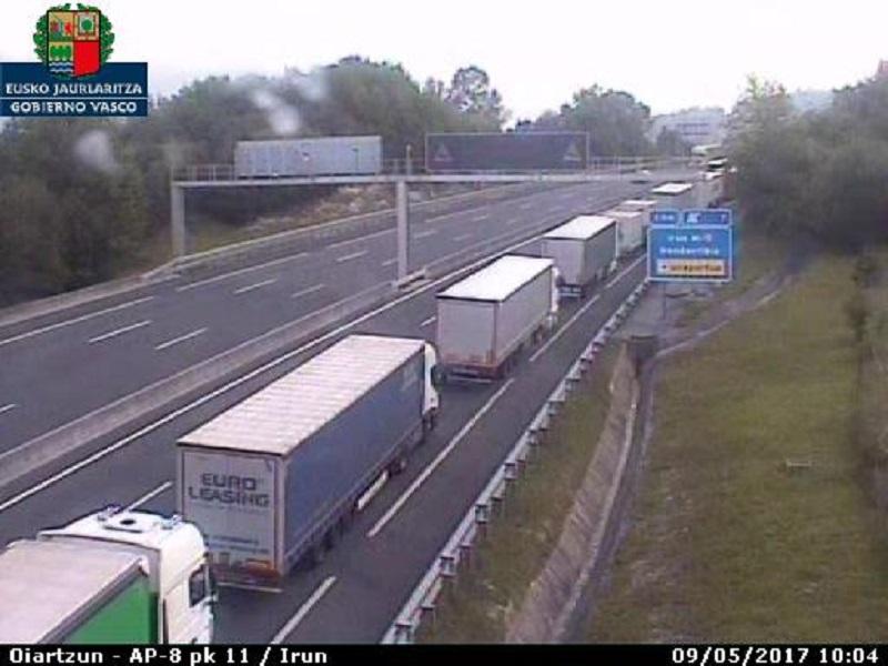 Retenciones de camiones en Biriatou en una imagen de archivo. Foto: Gobierno vasco