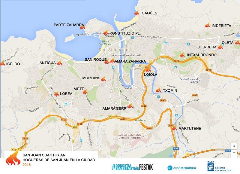 plano San Juan San Juan: hogueras previstas en todos los barrios de Donostia