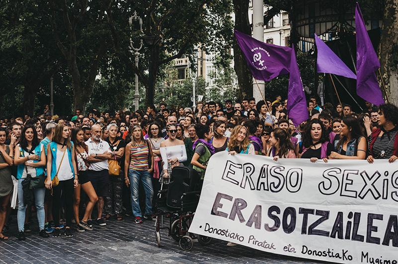 Protestas por agresiones sexuales en Semana Grande de 2018. Foto: Santiago Farizano