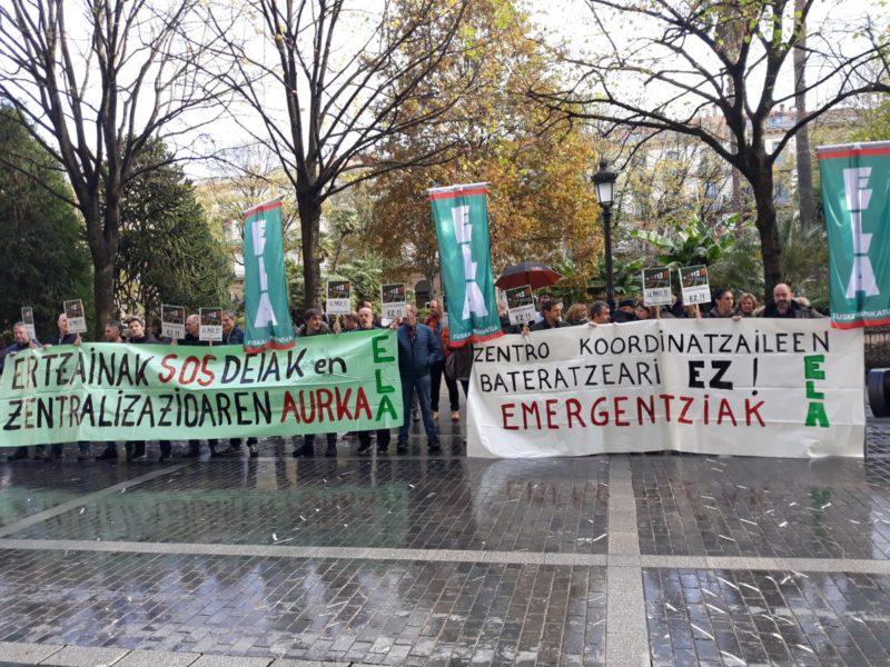 Contra la unificación de emergencias. Foto: ELA