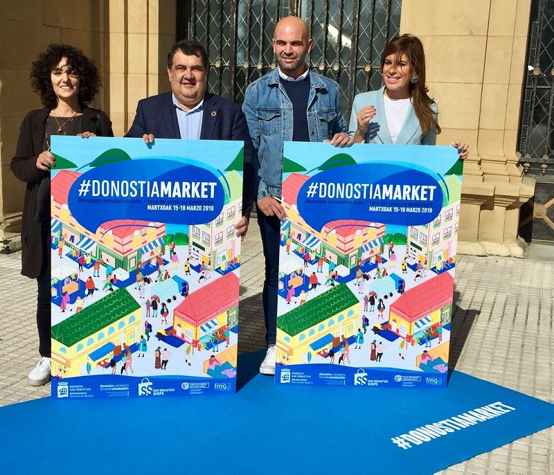 Ernesto Gasco con representantes del comercio donostiarra. Foto: Ayto.