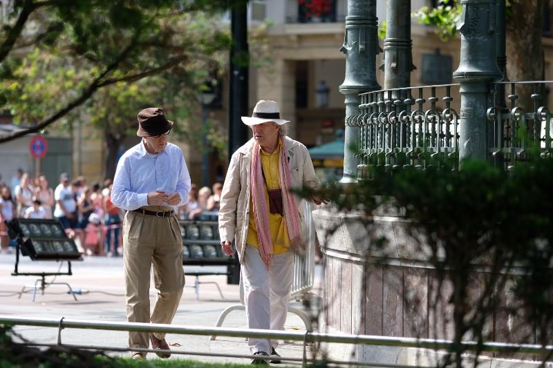 Woody Allen y Vittorio Storaro en el Boulevard en el inicio del rodaje. Foto: Santiago Farizano