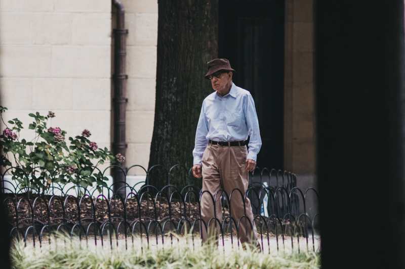 Woody Allen durante el rodaje en la plaza Gipuzkoa. Foto: Santiago Farizano