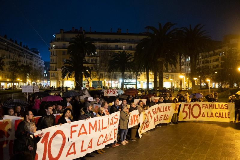 Manifestación en 2020 en Benta Berri a favor del derecho a la vivienda. Foto: Santiago Farizano