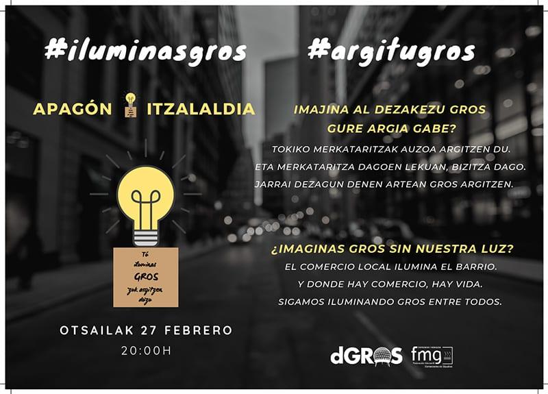CARTEL APAGON 27 FEBRERO El barrio de Gros se apaga para reivindicar una mejora de la iluminación