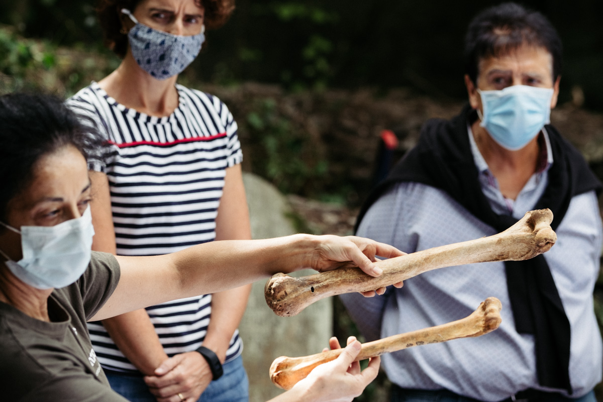 Miembros del equipo de Aranzadi comparan un fémur común con otro del gigante. Fotos: Santiago Farizano