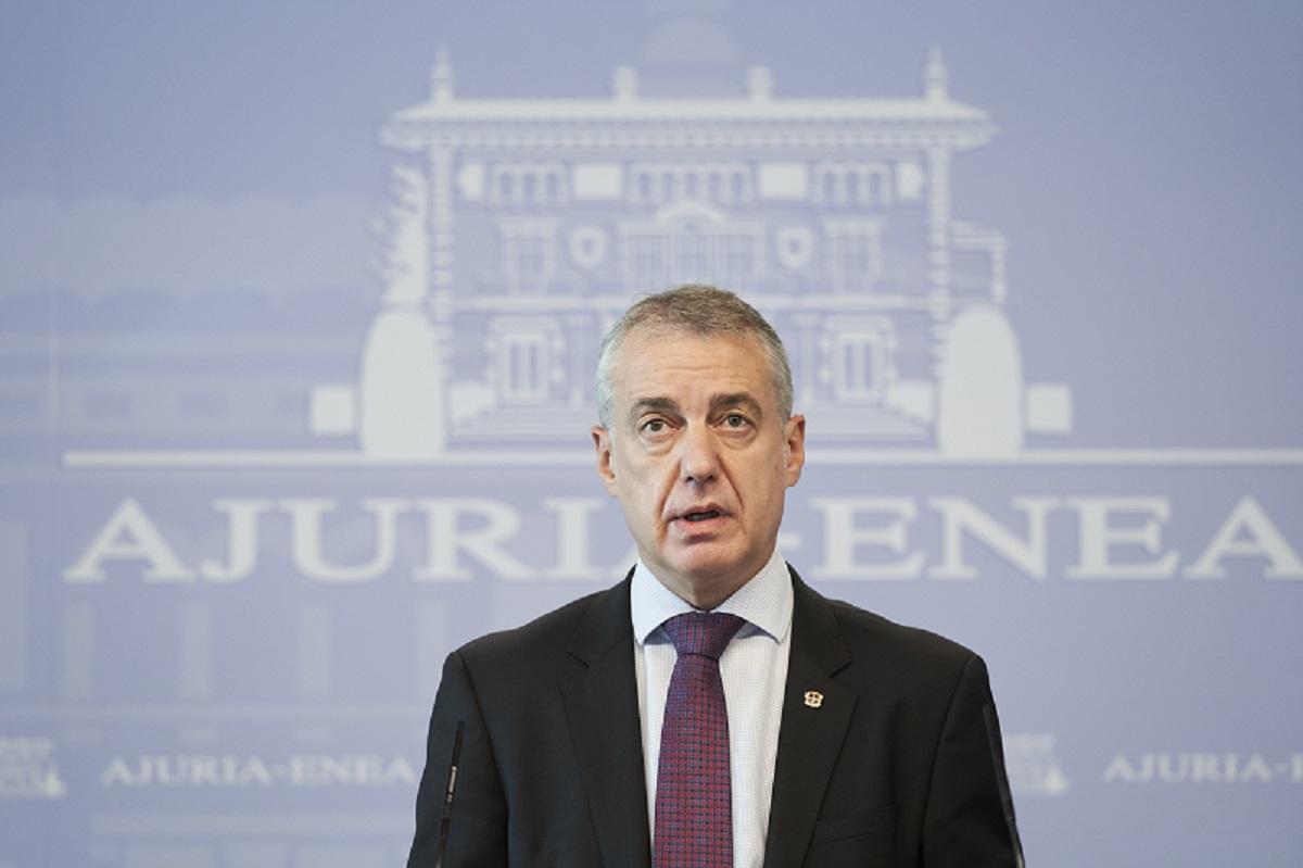Archivo. Iñigo Urkullu en su comparecencia de esta tarde. Foto: Gobierno vasco