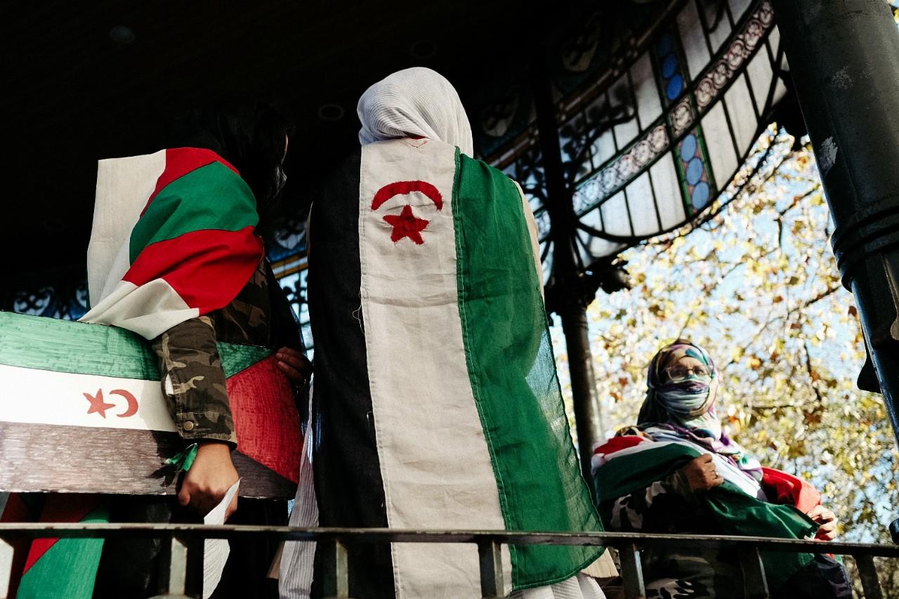 Manifestación en favor de la libertad del Sáhara hoy en Donostia. Fotos: Santiago Farizano