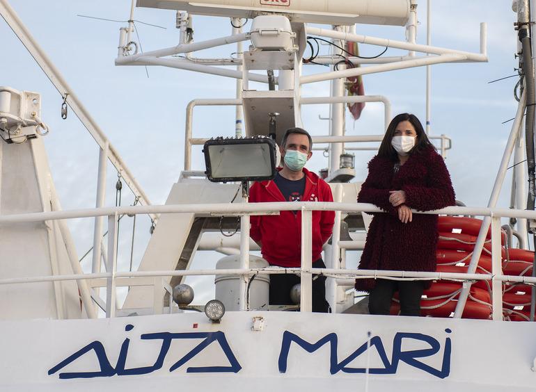 El Aita Mari preparado para zarpar durante la visita de la consejera de Igualdad, Beatriz Artolazabal. Foto: Gobierno vasco
