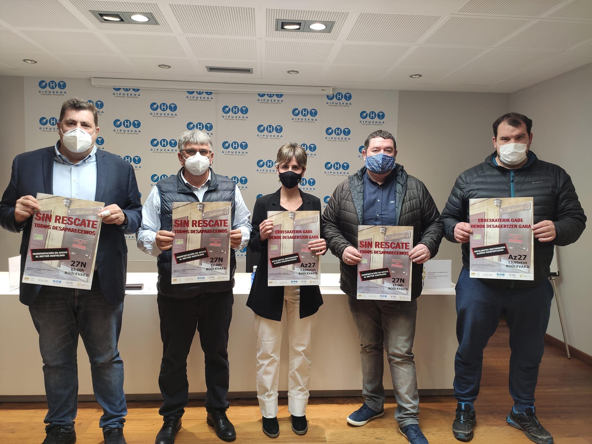Responsables de la hostelería vasca, hoy, dando a conocer sus reivindicaciones. Foto: Hostelería Gipuzkoa