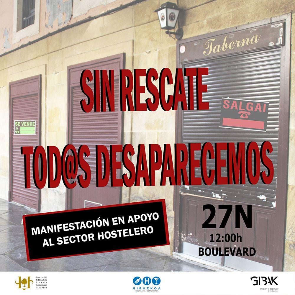 manifestacion 27N - La hostelería vasca saldrá a la calle el viernes para pedir un plan de rescate
