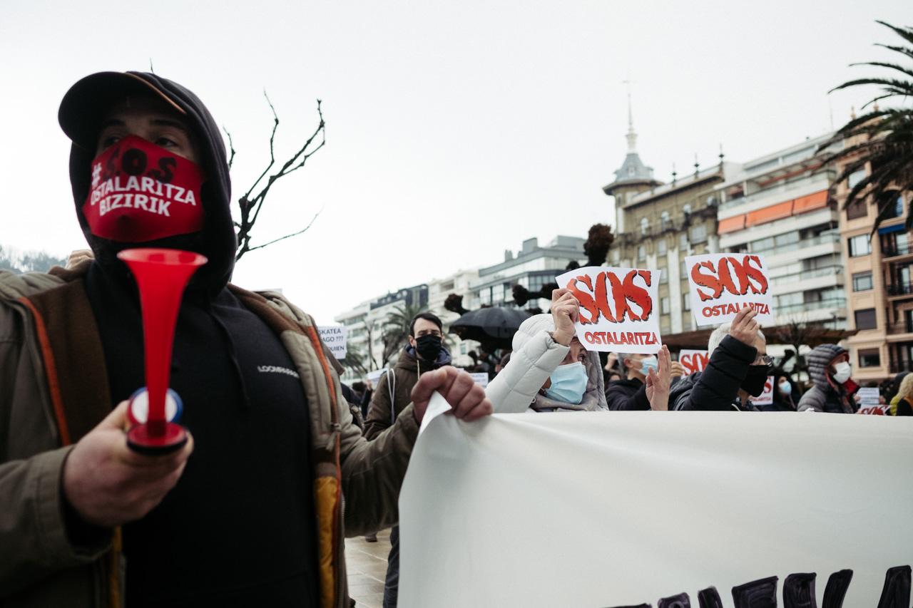 SOS Ostalaritza, hoy, en Donostia. Fotos: Santiago Farizano