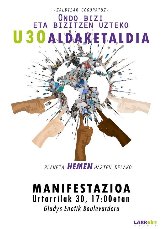 cartel eguzki Manifestación el sábado en Donostia por la emergencia climática y ecológica