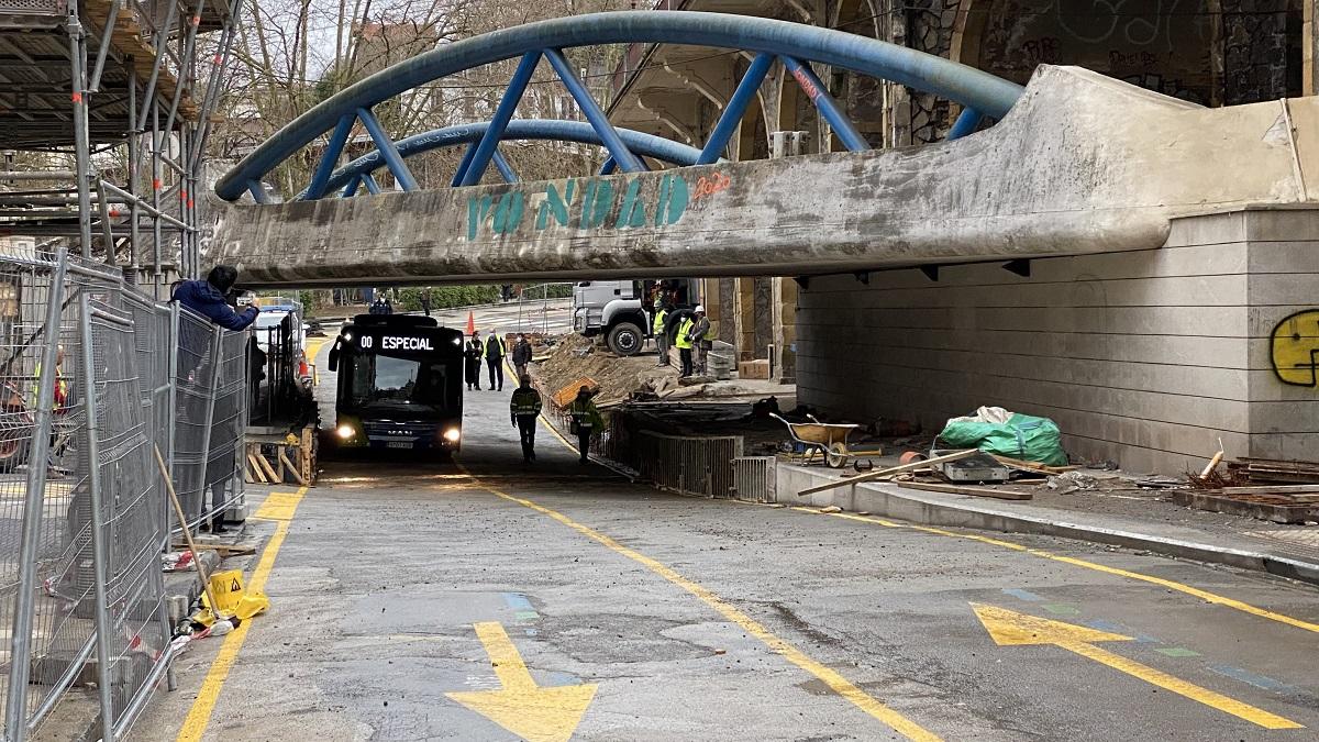 Obras en el viaducto de Iztueta. Foto: Ayto.