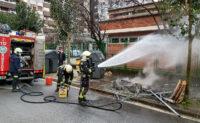 contenedor Los bomberos sofocan un fuego en un contenedor de Amara Berri