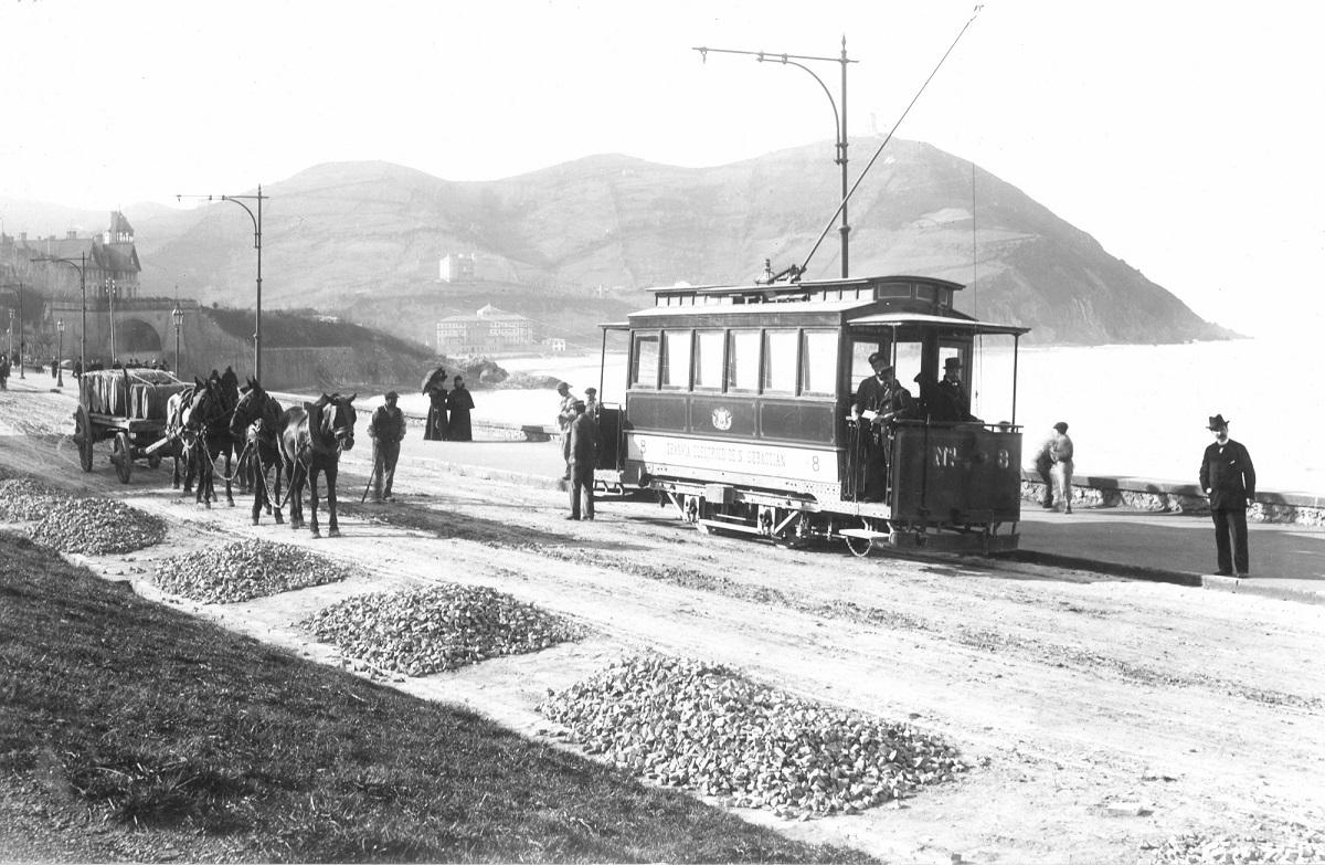 Primer tranvía eléctrico en Donostia: Foto. Euskotren