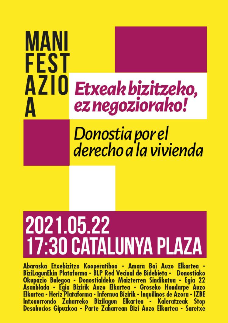 El cartel oficial para la manifestación del 22 de mayo. Foto: Bizilagunekin donostia