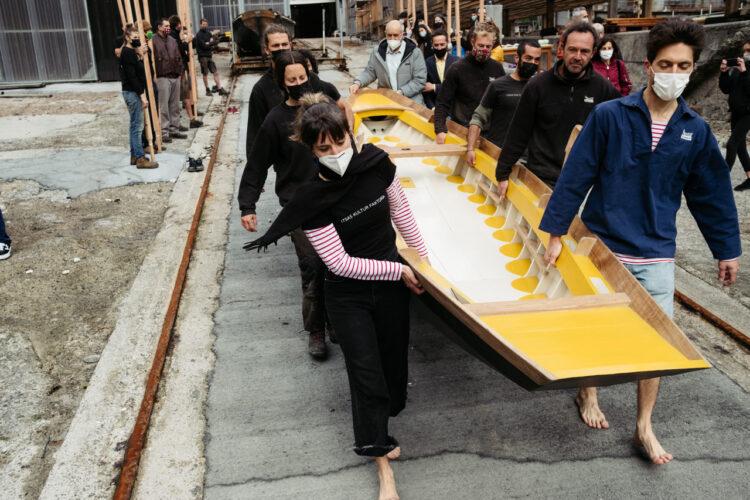 Botadura en Albaola de un barco veneciano. Fotos: Santiago Farizano